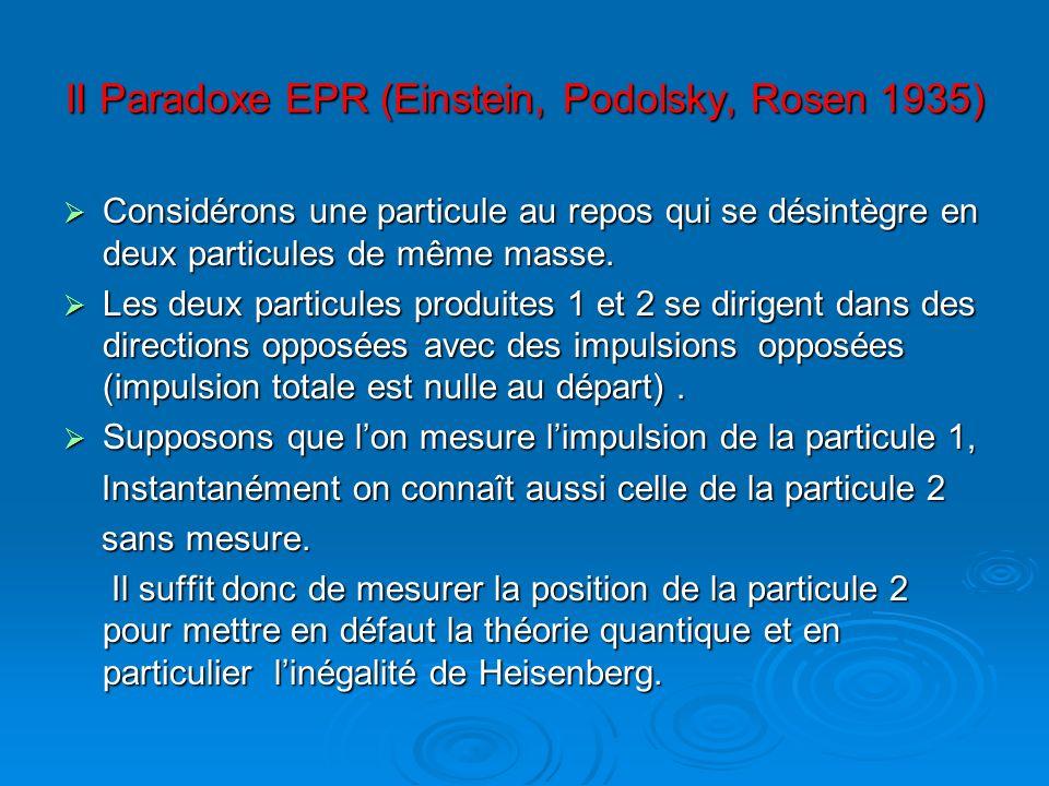 II Paradoxe EPR (Einstein, Podolsky, Rosen 1935) Considérons une particule au repos qui se désintègre en deux particules de même masse. Considérons un