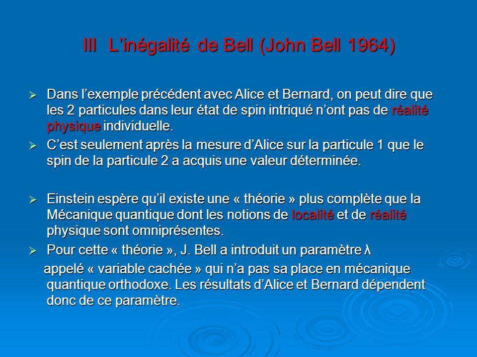 III Linégalité de Bell (John Bell 1964) Dans lexemple précédent avec Alice et Bernard, on peut dire que les 2 particules dans leur état de spin intriq