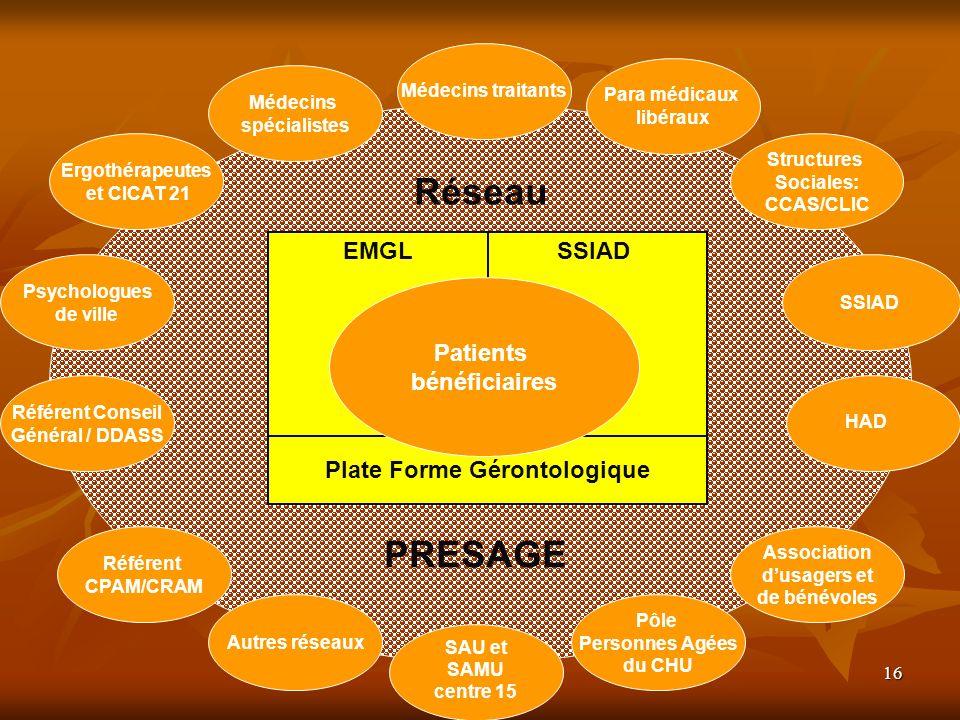 16 Plate Forme Gérontologique Médecins traitants Para médicaux libéraux Structures Sociales: CCAS/CLIC Réseau EMGLSSIAD Patients bénéficiaires Référen
