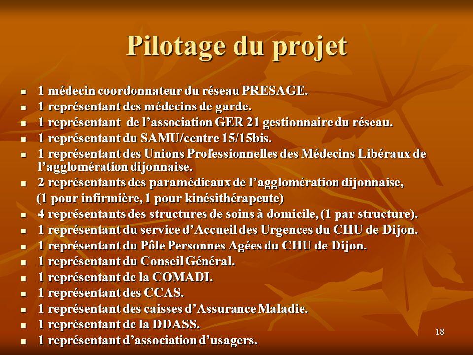 18 Pilotage du projet 1 médecin coordonnateur du réseau PRESAGE. 1 médecin coordonnateur du réseau PRESAGE. 1 représentant des médecins de garde. 1 re