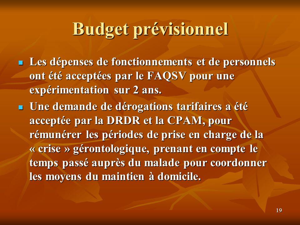 19 Budget prévisionnel Les dépenses de fonctionnements et de personnels ont été acceptées par le FAQSV pour une expérimentation sur 2 ans. Les dépense