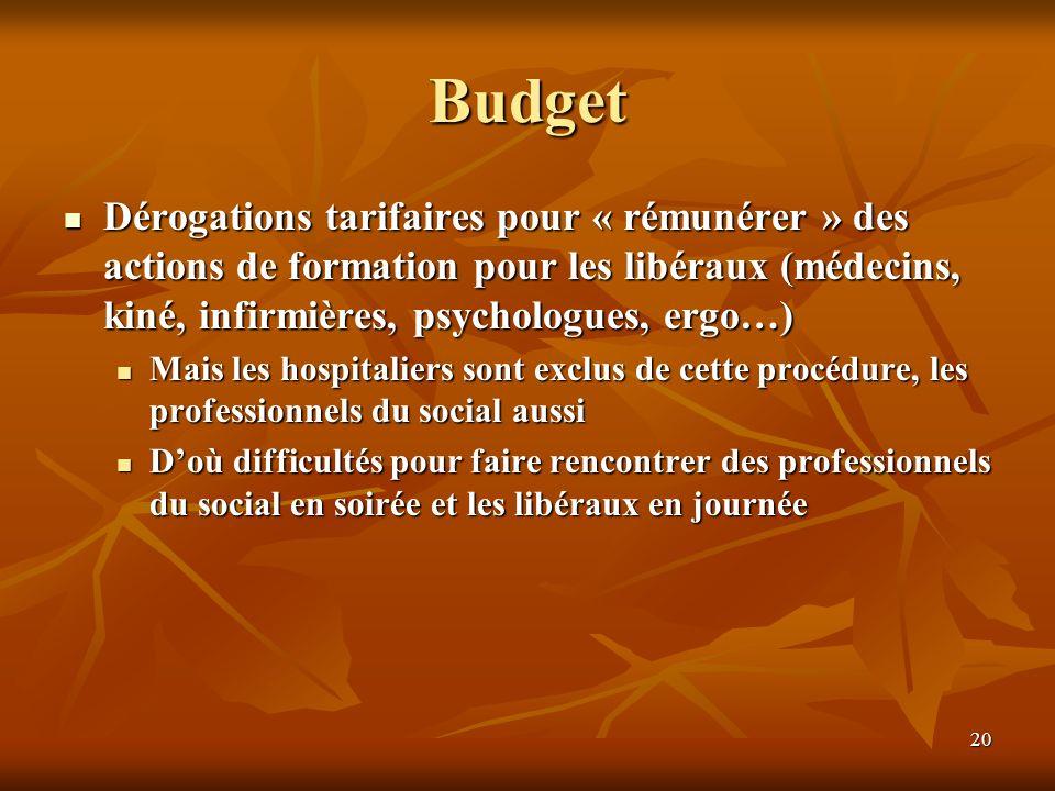 20 Budget Dérogations tarifaires pour « rémunérer » des actions de formation pour les libéraux (médecins, kiné, infirmières, psychologues, ergo…) Mais