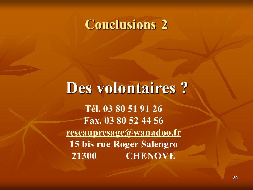26 Conclusions 2 Des volontaires ? Tél. 03 80 51 91 26 Fax. 03 80 52 44 56 reseaupresage@wanadoo.fr 15 bis rue Roger Salengro 21300 CHENOVE