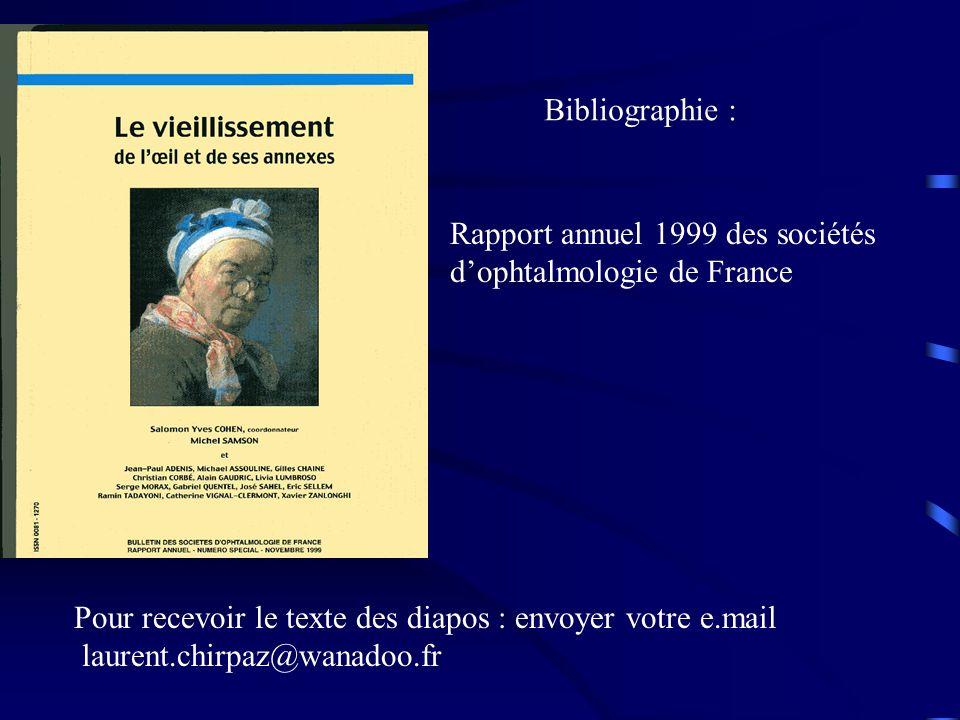 Pour recevoir le texte des diapos : envoyer votre e.mail laurent.chirpaz@wanadoo.fr Bibliographie : Rapport annuel 1999 des sociétés dophtalmologie de