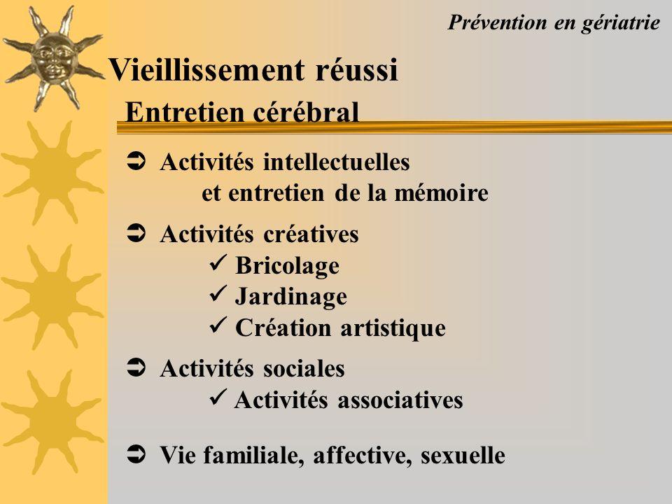 Prévention en gériatrie Vieillissement réussi Entretien cérébral Activités intellectuelles et entretien de la mémoire Activités créatives Bricolage Ja