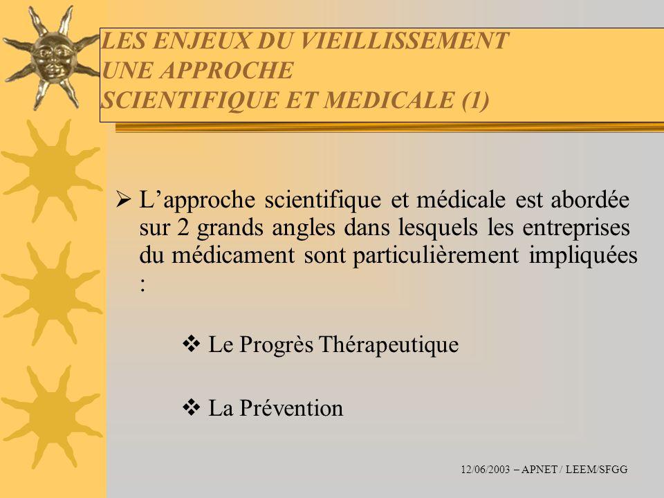 LES ENJEUX DU VIEILLISSEMENT UNE APPROCHE SCIENTIFIQUE ET MEDICALE (1) Lapproche scientifique et médicale est abordée sur 2 grands angles dans lesquel