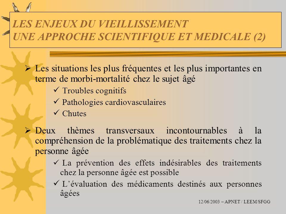 LES ENJEUX DU VIEILLISSEMENT UNE APPROCHE SCIENTIFIQUE ET MEDICALE (2) Les situations les plus fréquentes et les plus importantes en terme de morbi-mo