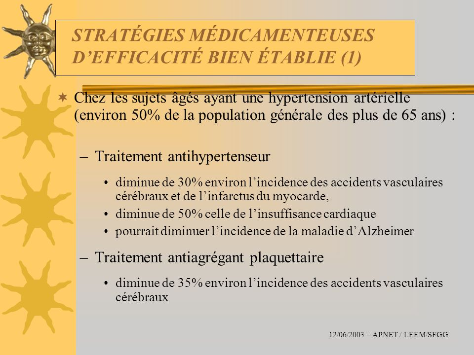 STRATÉGIES MÉDICAMENTEUSES DEFFICACITÉ BIEN ÉTABLIE (1) Chez les sujets âgés ayant une hypertension artérielle (environ 50% de la population générale