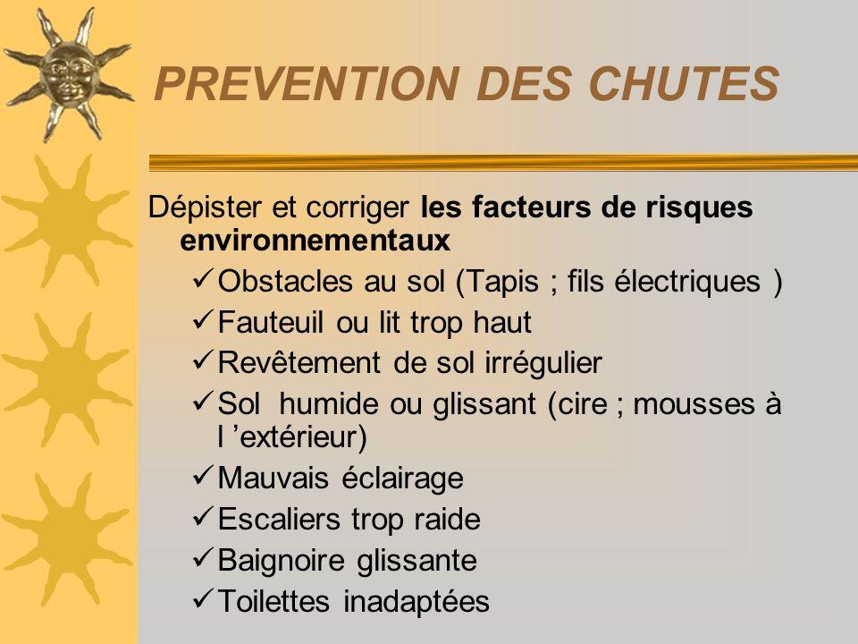 PREVENTION DES CHUTES Dépister et corriger les facteurs de risques environnementaux Obstacles au sol (Tapis ; fils électriques ) Fauteuil ou lit trop