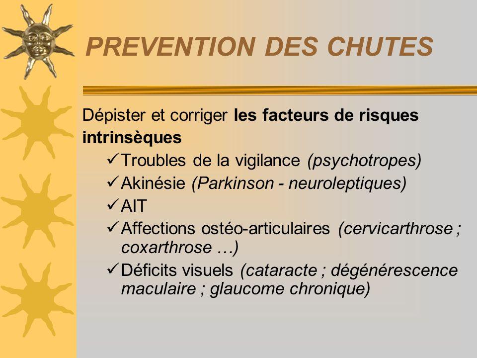 PREVENTION DES CHUTES Dépister et corriger les facteurs de risques intrinsèques Troubles de la vigilance (psychotropes) Akinésie (Parkinson - neurolep