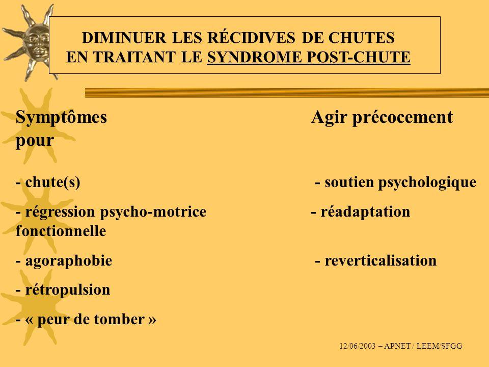 SymptômesAgir précocement pour - chute(s) - soutien psychologique - régression psycho-motrice - réadaptation fonctionnelle - agoraphobie - reverticali