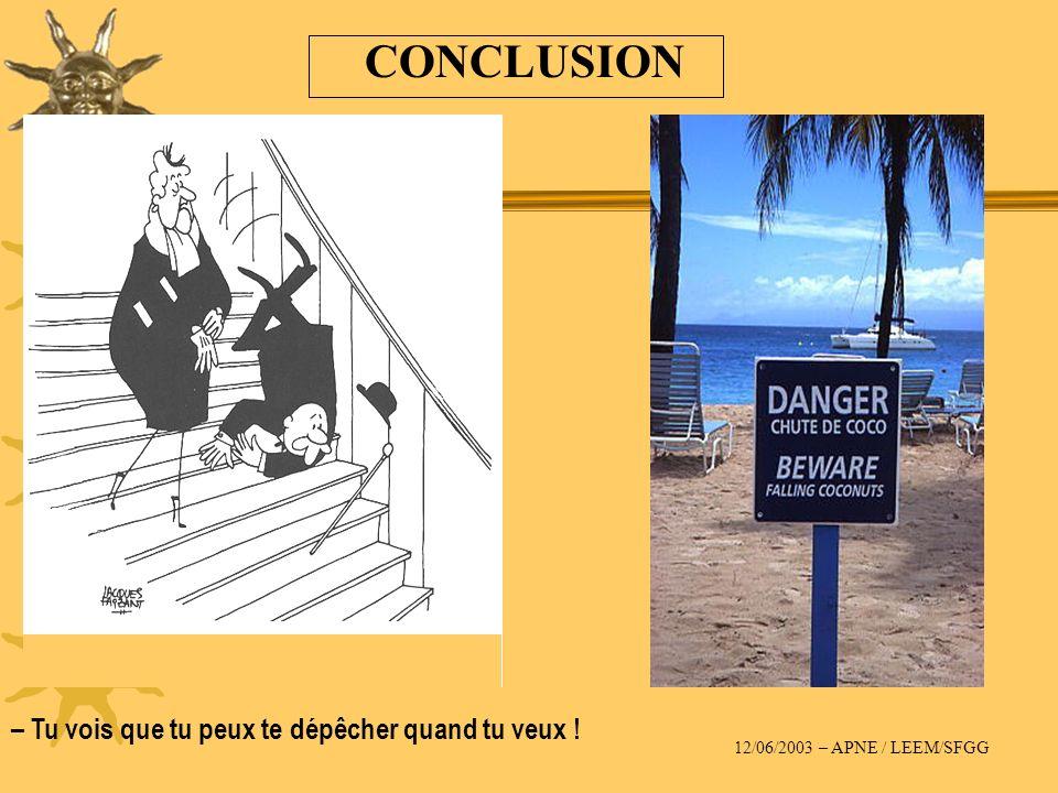 CONCLUSION – Tu vois que tu peux te dépêcher quand tu veux ! 12/06/2003 – APNE / LEEM/SFGG