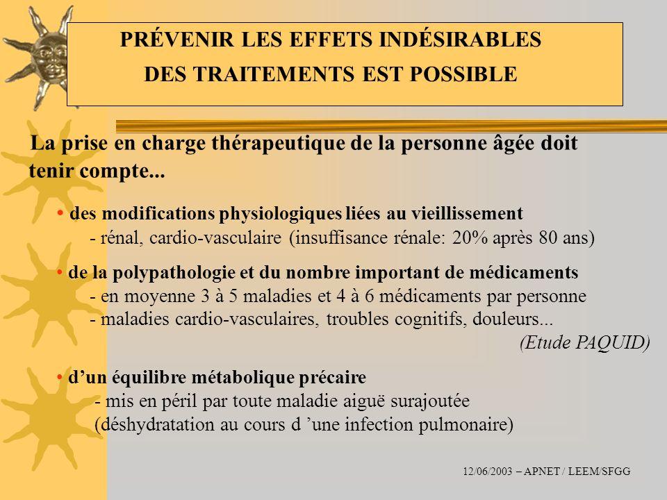 La prise en charge thérapeutique de la personne âgée doit tenir compte... des modifications physiologiques liées au vieillissement - rénal, cardio-vas