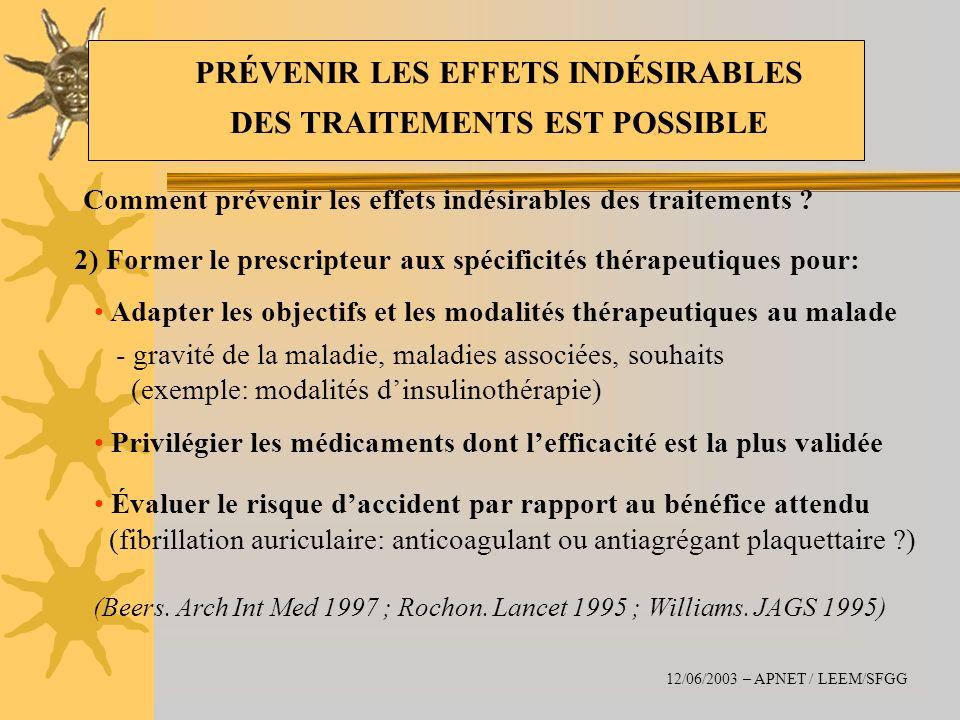 Comment prévenir les effets indésirables des traitements ? 2) Former le prescripteur aux spécificités thérapeutiques pour: Adapter les objectifs et le
