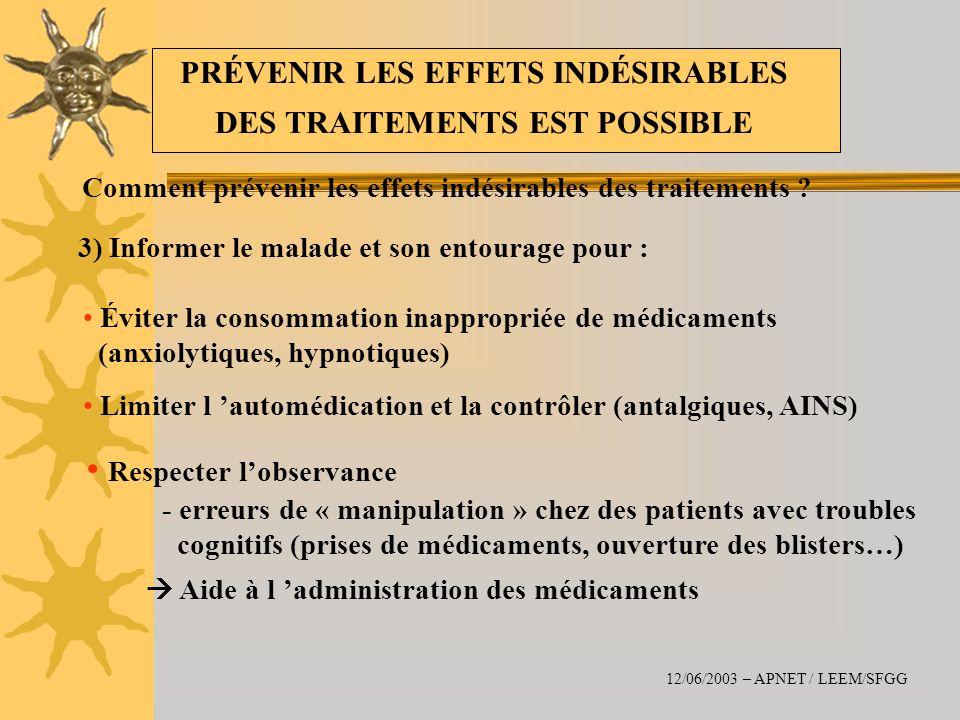 Comment prévenir les effets indésirables des traitements ? 3) Informer le malade et son entourage pour : Éviter la consommation inappropriée de médica