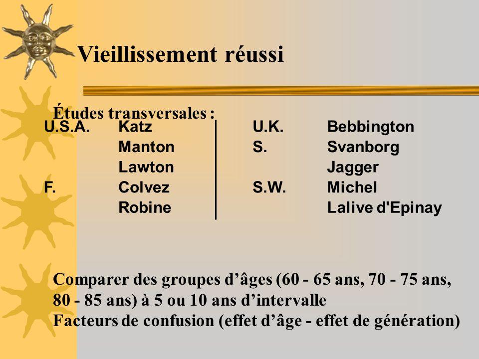 Vieillissement réussi Études transversales : Comparer des groupes dâges (60 - 65 ans, 70 - 75 ans, 80 - 85 ans) à 5 ou 10 ans dintervalle Facteurs de