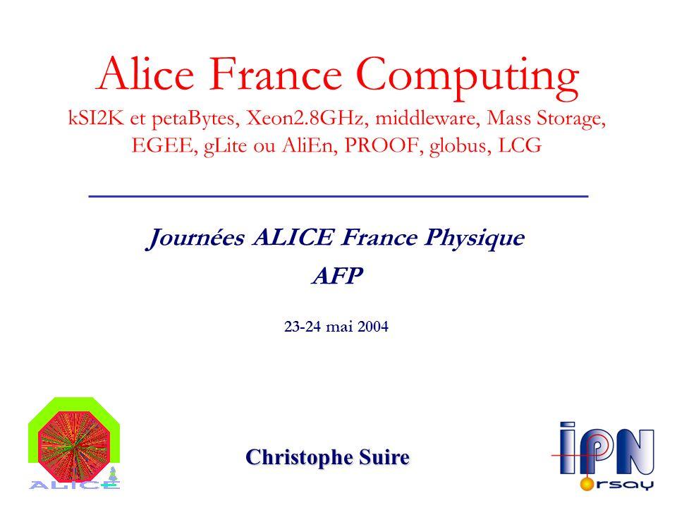 Alice France Computing Status Plan : AFP & Alice Computing Les bases (Y.