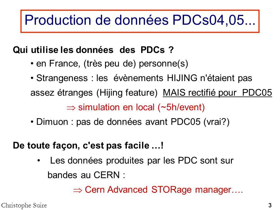 Production de données PDCs04,05... Christophe Suire 3 Qui utilise les données des PDCs ? en France, (très peu de) personne(s) Strangeness : les évènem