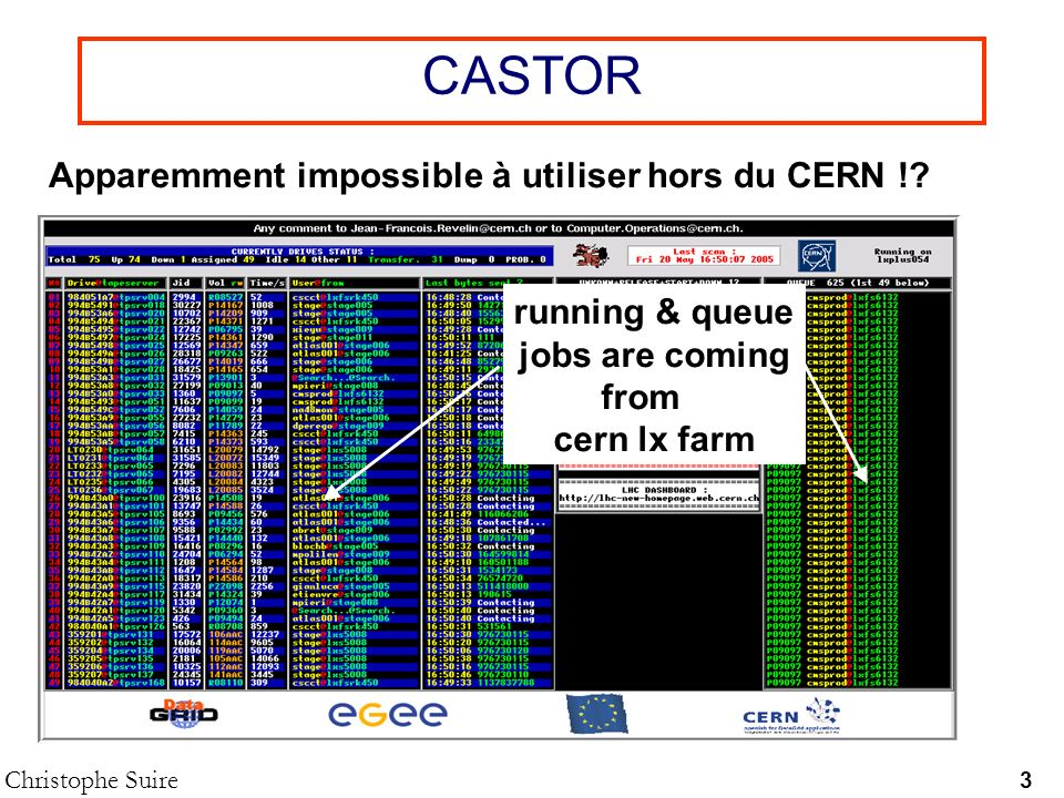 CASTOR Christophe Suire 3 Apparemment impossible à utiliser hors du CERN !? running & queue jobs are coming from cern lx farm