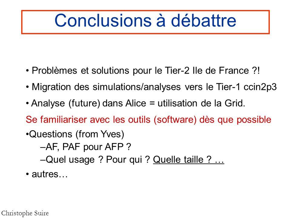 Conclusions à débattre Christophe Suire Problèmes et solutions pour le Tier-2 Ile de France ?! Migration des simulations/analyses vers le Tier-1 ccin2