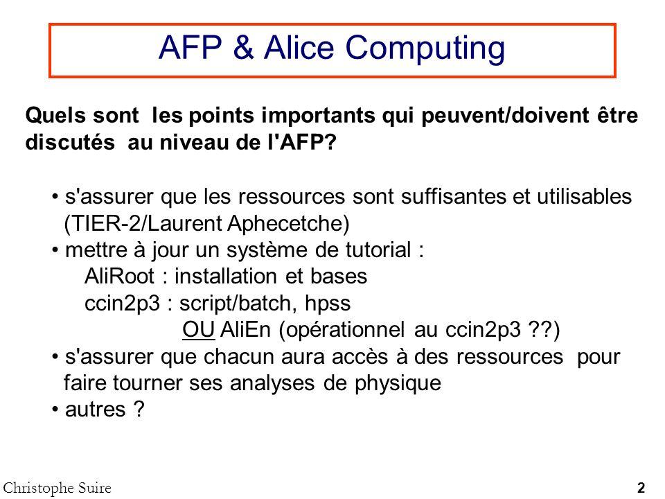 Tour des TIERs Christophe Suire Yves (DimuonNet 05 - Nantes) Tier-2 CPU (kSI2K) Disk (TB) CPU/Disk (kSi2K/TB) MS (PB) WAN (Mb/s) CCIN2P3/AF (4 LHC) 14619840010000 Clermont-Ferrand (ALICE+ATLAS) 1008.31201000 Nantes (ALICE) 165208,301000 Paris (4 LHC) 300251201000 Total 711 5% 72,3 3% 9,8 .