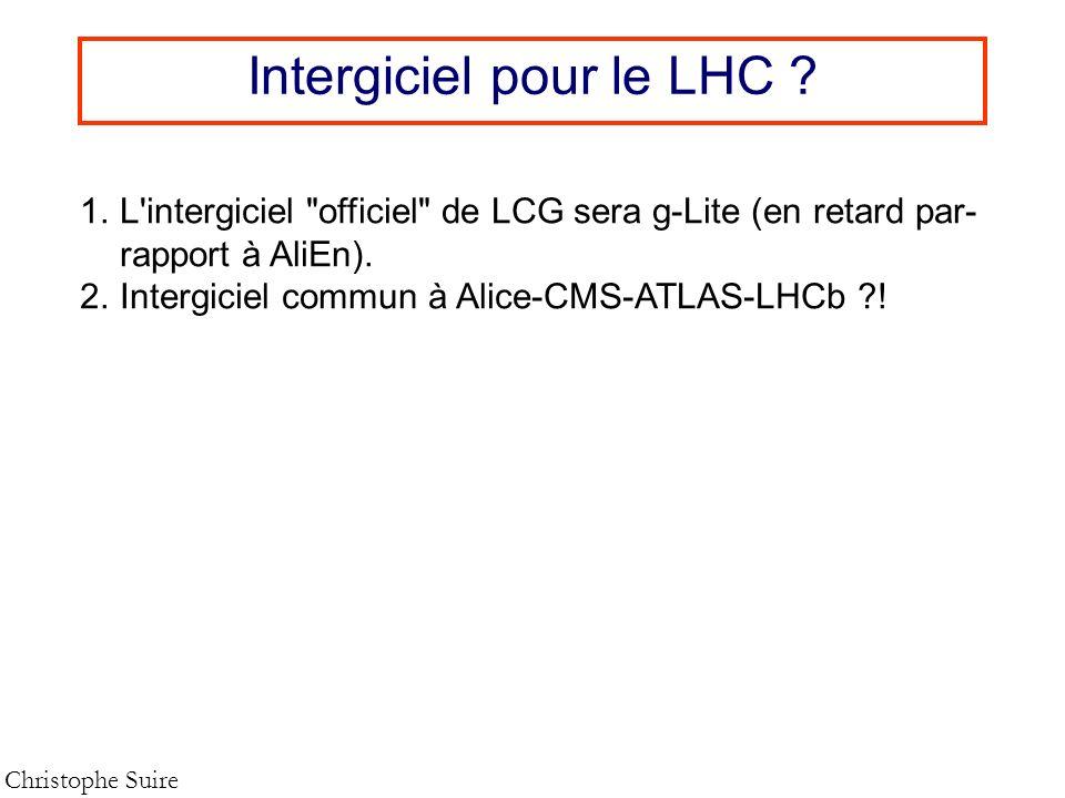 Intergiciel pour le LHC ? Christophe Suire 1.L'intergiciel