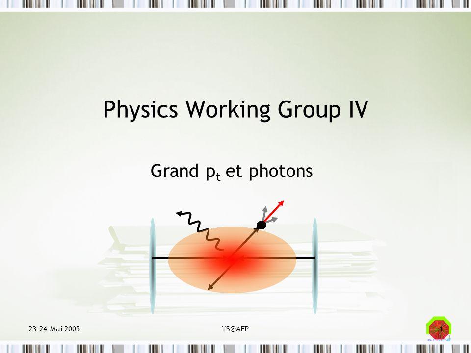 23-24 Mai 2005YS@AFP12 Jetologie: Diffusion dure (pQCD) Parton coloré Hadrons incolores Rayonnement induit par milieu Fragmentation (QCD)