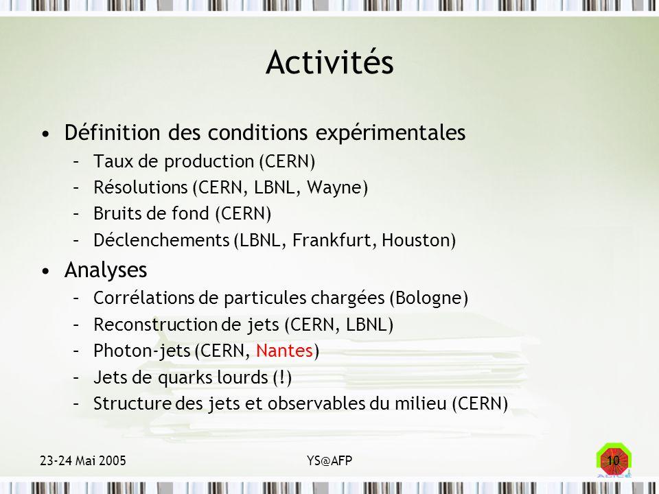 23-24 Mai 2005YS@AFP10 Activités Définition des conditions expérimentales –Taux de production (CERN) –Résolutions (CERN, LBNL, Wayne) –Bruits de fond