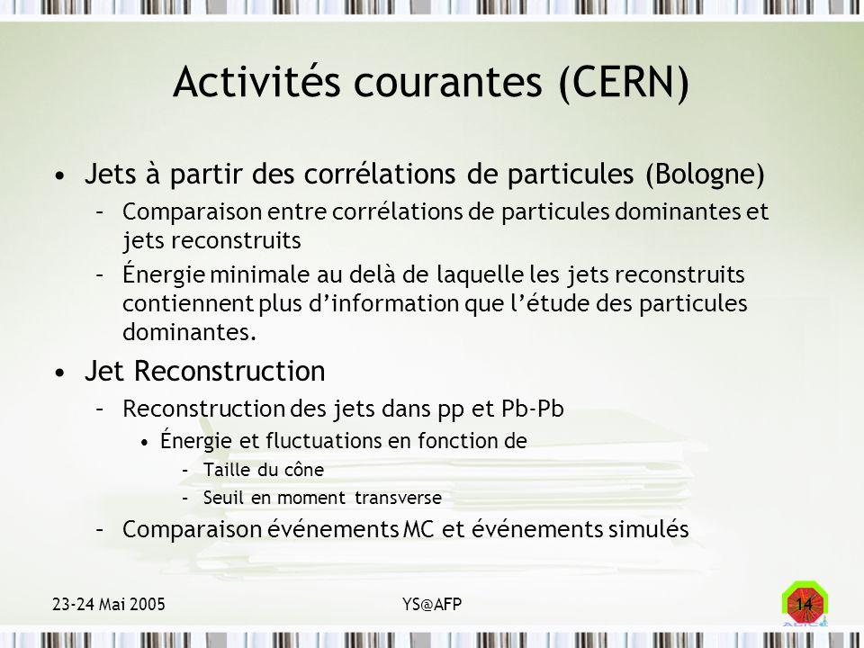 23-24 Mai 2005YS@AFP14 Activités courantes (CERN) Jets à partir des corrélations de particules (Bologne) –Comparaison entre corrélations de particules
