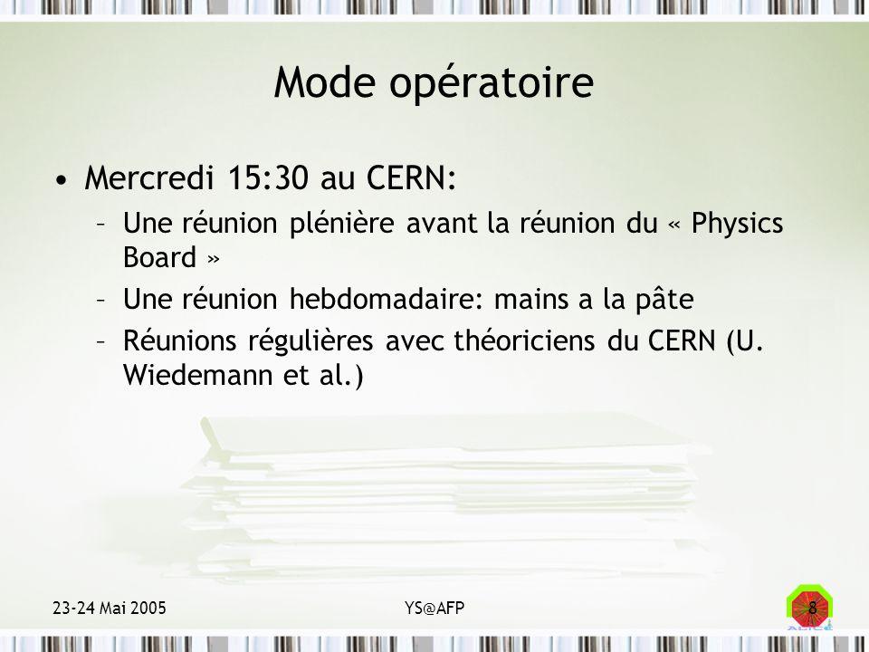23-24 Mai 2005YS@AFP8 Mode opératoire Mercredi 15:30 au CERN: –Une réunion plénière avant la réunion du « Physics Board » –Une réunion hebdomadaire: m