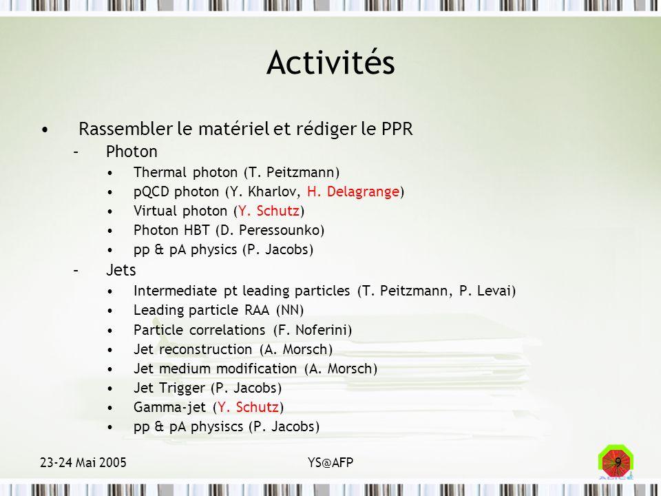 23-24 Mai 2005YS@AFP10 Activités Définition des conditions expérimentales –Taux de production (CERN) –Résolutions (CERN, LBNL, Wayne) –Bruits de fond (CERN) –Déclenchements (LBNL, Frankfurt, Houston) Analyses –Corrélations de particules chargées (Bologne) –Reconstruction de jets (CERN, LBNL) –Photon-jets (CERN, Nantes) –Jets de quarks lourds (!) –Structure des jets et observables du milieu (CERN)