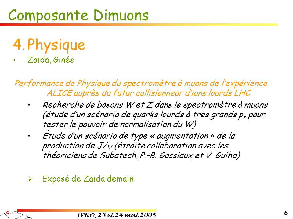 IPNO, 23 et 24 mai 2005 6 Composante Dimuons 4.Physique Zaida, Ginés Performance de Physique du spectromètre à muons de lexpérience ALICE auprès du fu