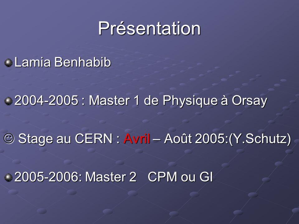 Présentation Lamia Benhabib 2004-2005 : Master 1 de Physique à Orsay Stage au CERN : Avril – Août 2005:(Y.Schutz) Stage au CERN : Avril – Août 2005:(Y.Schutz) 2005-2006: Master 2 CPM ou GI