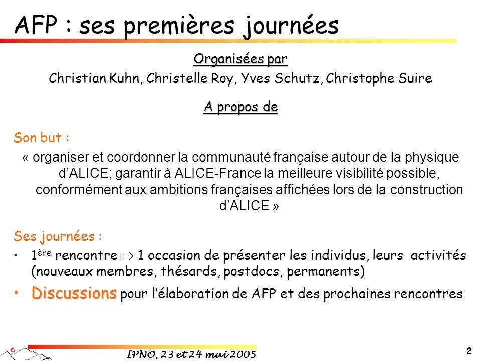 IPNO, 23 et 24 mai 2005 2 AFP : ses premières journées Organisées par Christian Kuhn, Christelle Roy, Yves Schutz, Christophe Suire A propos de Son bu