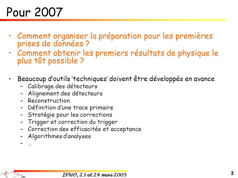 IPNO, 23 et 24 mai 2005 3 Pour 2007 Comment organiser la préparation pour les premières prises de données ? Comment obtenir les premiers résultats de