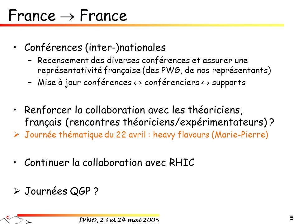IPNO, 23 et 24 mai 2005 5 France Conférences (inter-)nationales –Recensement des diverses conférences et assurer une représentativité française (des P