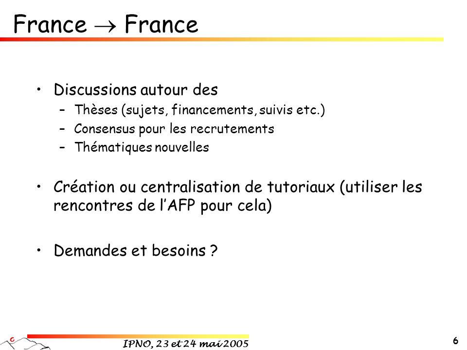 IPNO, 23 et 24 mai 2005 6 France Discussions autour des –Thèses (sujets, financements, suivis etc.) –Consensus pour les recrutements –Thématiques nouvelles Création ou centralisation de tutoriaux (utiliser les rencontres de lAFP pour cela) Demandes et besoins