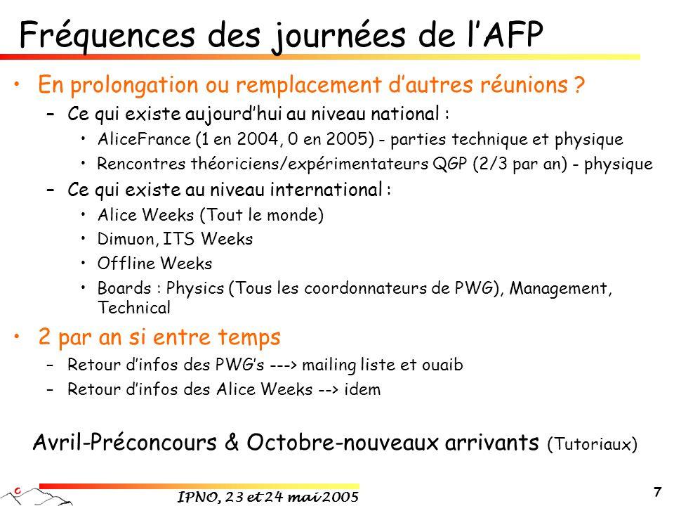 IPNO, 23 et 24 mai 2005 7 Fréquences des journées de lAFP En prolongation ou remplacement dautres réunions .