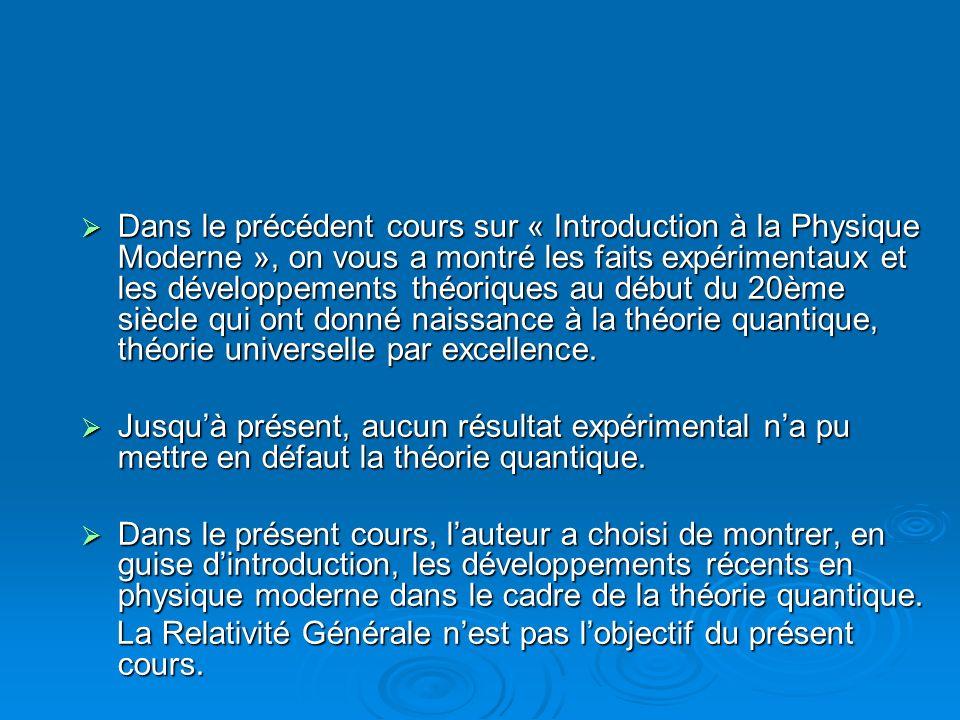 Dans le précédent cours sur « Introduction à la Physique Moderne », on vous a montré les faits expérimentaux et les développements théoriques au début