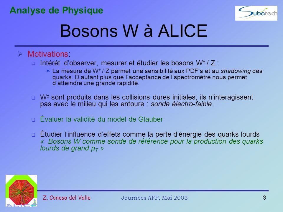 Z. Conesa del ValleJournées AFP, Mai 20053 Bosons W à ALICE Motivations: Intérêt dobserver, mesurer et étudier les bosons W / Z : La mesure de W / Z p