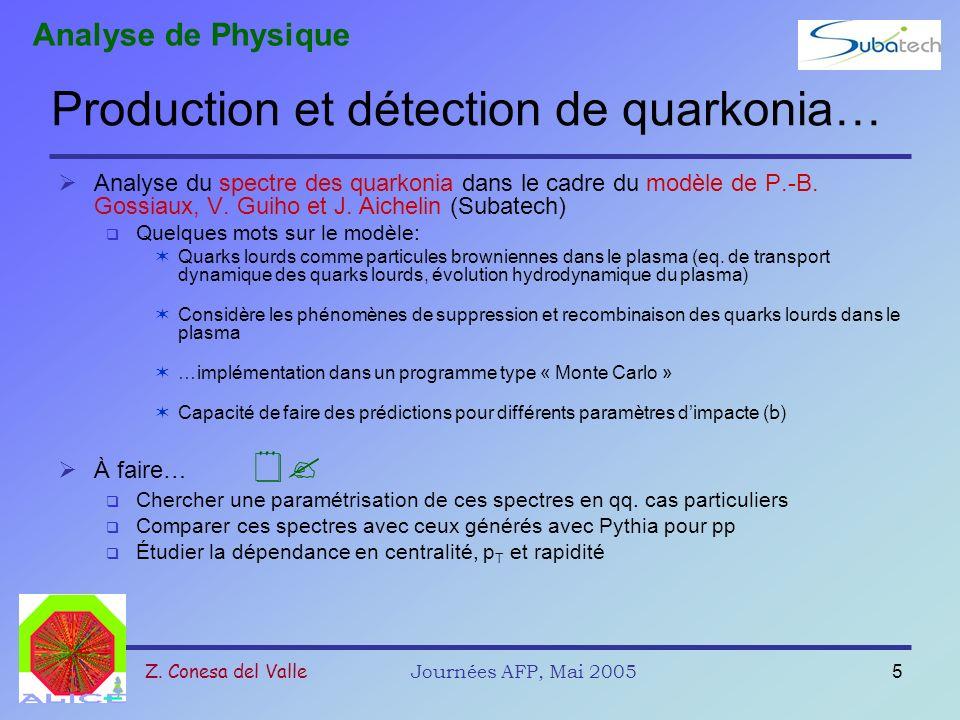 Z. Conesa del ValleJournées AFP, Mai 20055 Production et détection de quarkonia… Analyse du spectre des quarkonia dans le cadre du modèle de P.-B. Gos