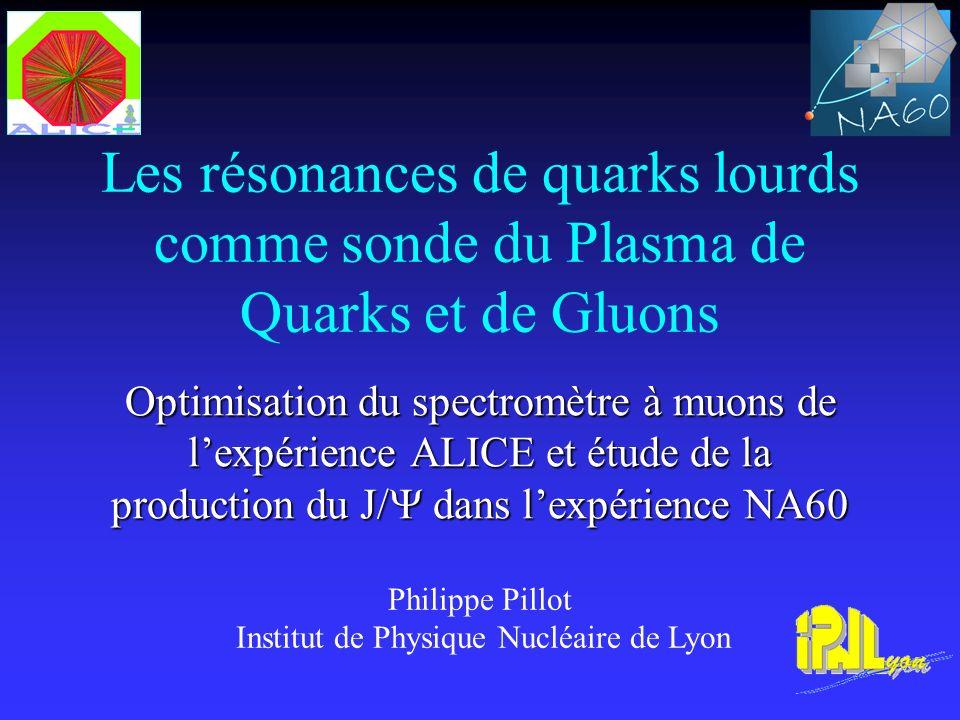 Les résonances de quarks lourds comme sonde du Plasma de Quarks et de Gluons Optimisation du spectromètre à muons de lexpérience ALICE et étude de la production du J/ dans lexpérience NA60 Philippe Pillot Institut de Physique Nucléaire de Lyon