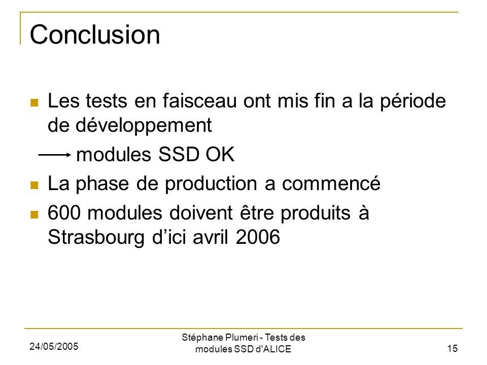 24/05/2005 Stéphane Plumeri - Tests des modules SSD d ALICE 15 Conclusion Les tests en faisceau ont mis fin a la période de développement modules SSD OK La phase de production a commencé 600 modules doivent être produits à Strasbourg dici avril 2006