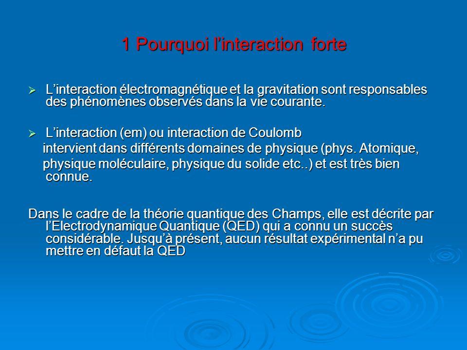 1 Pourquoi linteraction forte Linteraction électromagnétique et la gravitation sont responsables des phénomènes observés dans la vie courante. Lintera