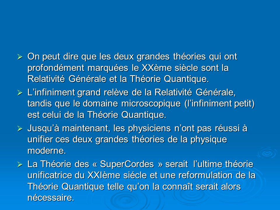 On peut dire que les deux grandes théories qui ont profondément marquées le XXème siècle sont la Relativité Générale et la Théorie Quantique. On peut