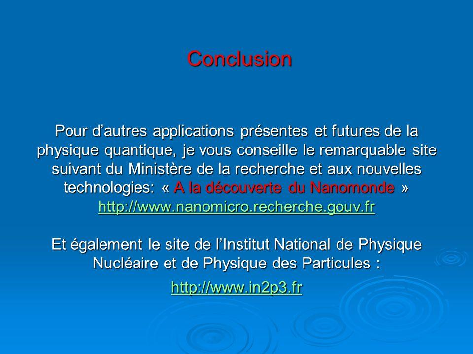 Conclusion Pour dautres applications présentes et futures de la physique quantique, je vous conseille le remarquable site suivant du Ministère de la r