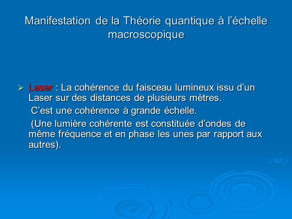 Manifestation de la Théorie quantique à léchelle macroscopique Laser : La cohérence du faisceau lumineux issu dun Laser sur des distances de plusieurs mètres.