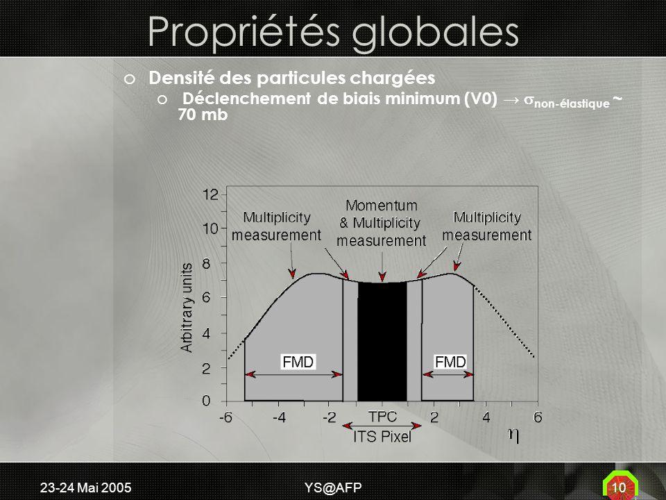 23-24 Mai 2005YS@AFP10 Propriétés globales o Densité des particules chargées o Déclenchement de biais minimum (V0) non-élastique ~ 70 mb