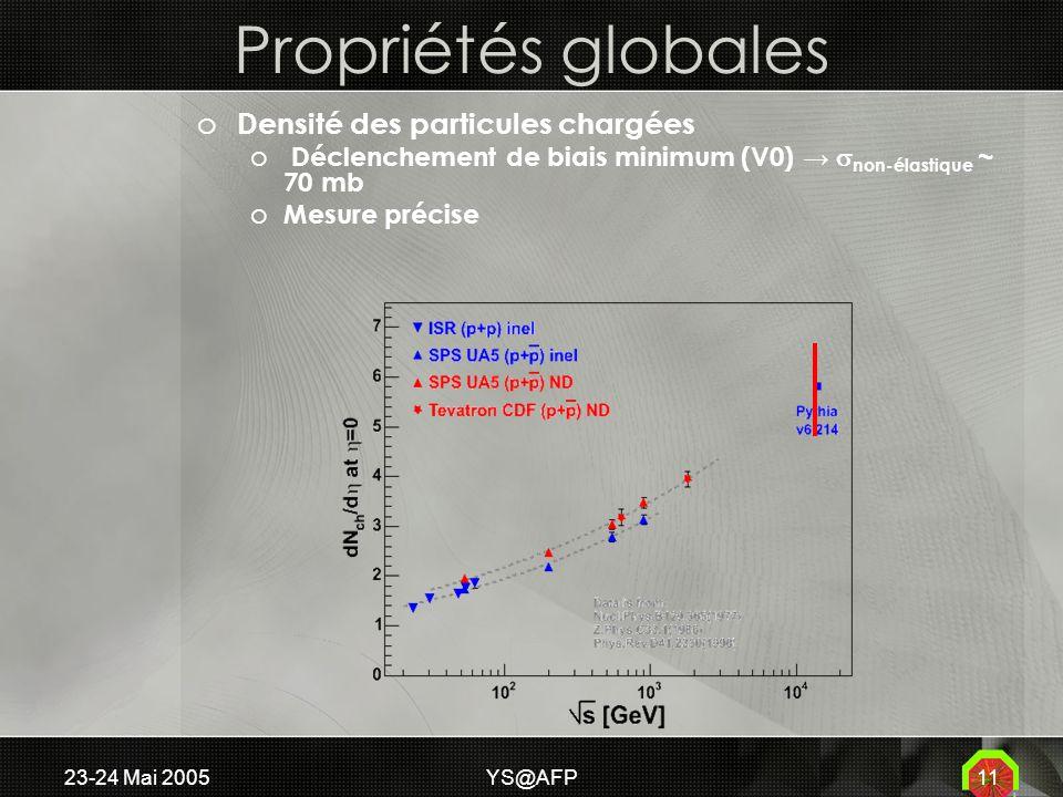 23-24 Mai 2005YS@AFP11 Propriétés globales o Densité des particules chargées o Déclenchement de biais minimum (V0) non-élastique ~ 70 mb o Mesure précise