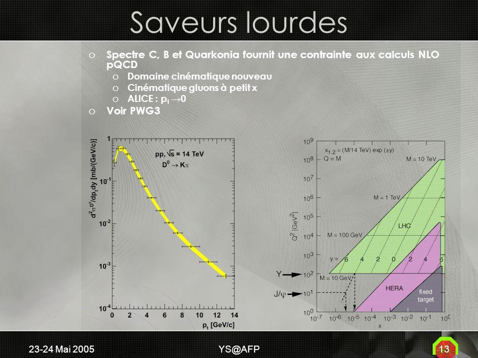 23-24 Mai 2005YS@AFP13 Saveurs lourdes o Spectre C, B et Quarkonia fournit une contrainte aux calculs NLO pQCD o Domaine cinématique nouveau o Cinématique gluons à petit x o ALICE : p t 0 o Voir PWG3